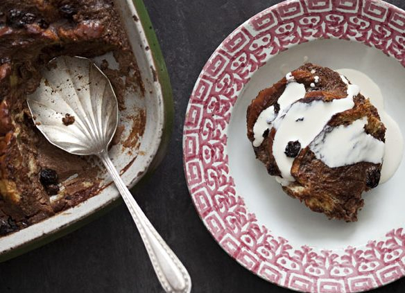 Chocolate Bread and butter pudding recipe with grated cacao
