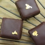 3 square gold leaf truffles on wire wrack square