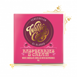 Raspberries and Cream, white chocolate raspberries - 50g