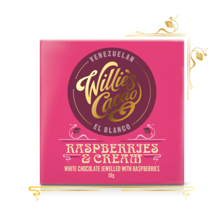 Raspberries and Cream, white chocolate raspberries - 50g