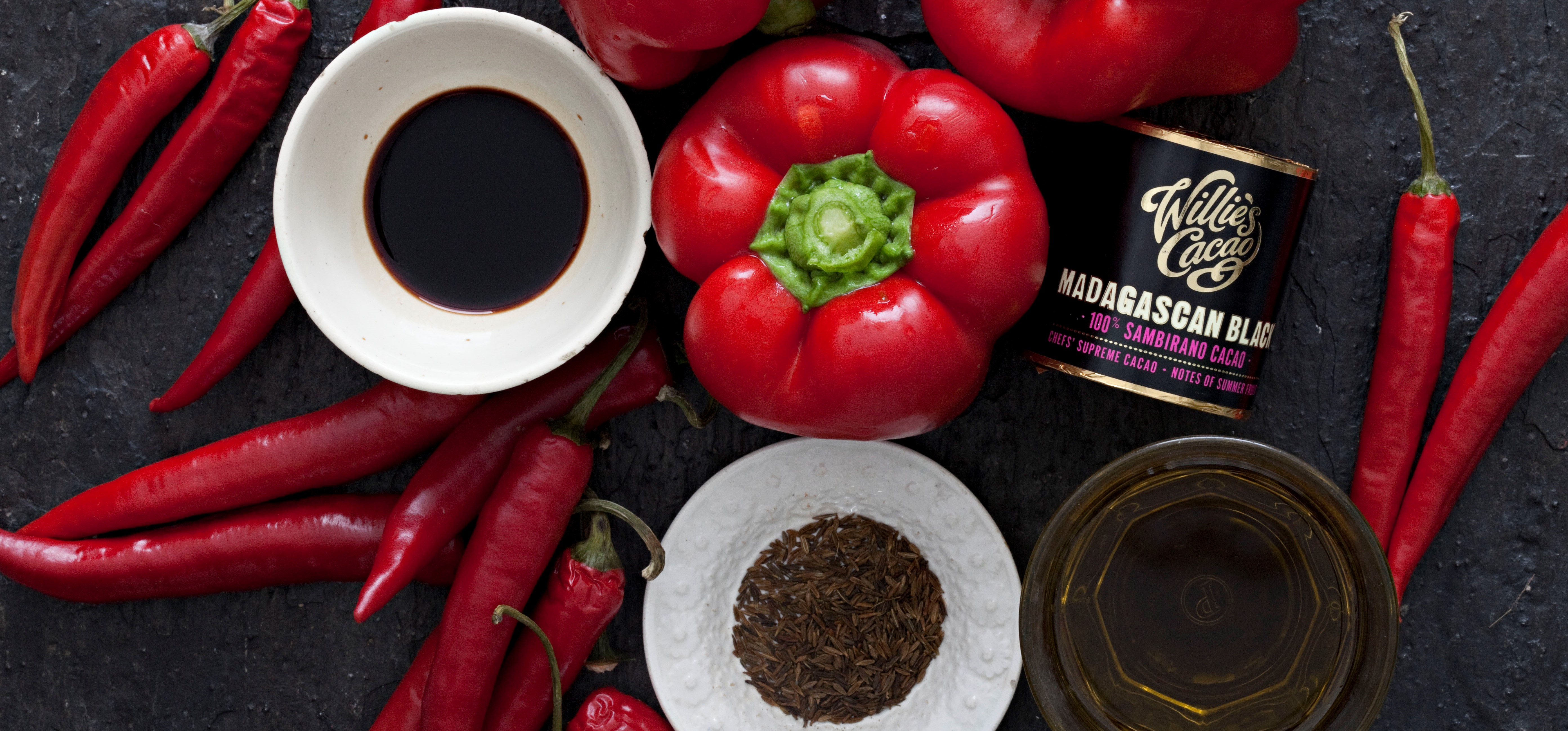 Roasted peppers and chillies harissa with 100% cacao Sambirano