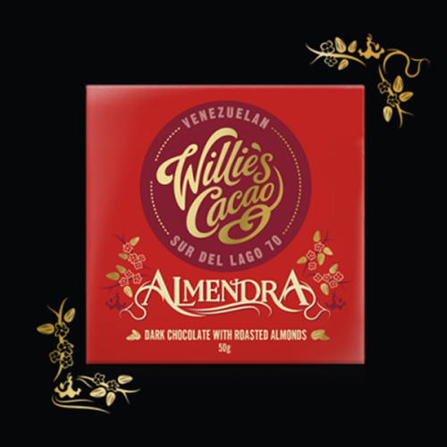 Willie's Cacao Almendra - Sur Del Lago single estate dark chocolate with roasted almonds. 100% natural and vegan.