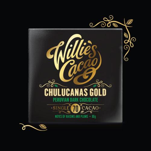 Willie's Cacao Chulucanas 70% dark chocolate. 100% natural and Vegan