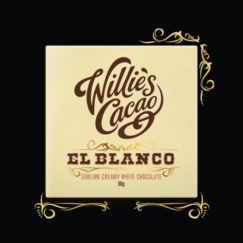 El Blanco, rich creamy white chocolate from Willie's Cacao. Made with natural cocoa butter, less sugar and no vanilla.