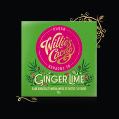 Willie's Cacao Ginger Lime dark chocolate with layers of exotic flavours. 100% natural and suitable for vegans.