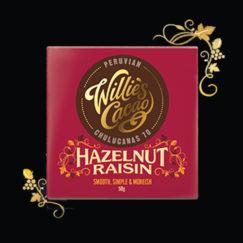Willie's Cacao Hazelnut Raisin. 70% artisan dark chocolate studded with hazelnuts and raisins. 100% natural. Vegan.