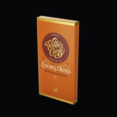 Willie's Cacao Luscious Orange, Baracoa dark chocolate with orange. 100% natural and Vegan.