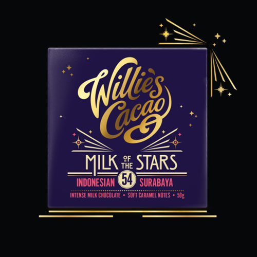 Willie's Cacao Milk of the Stars, 54% milk chocolate with soft caramel notes. An award winning dark milk chocolate.