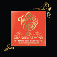 Orange & Almond in 100% cacao with no added sugar from Willie's Cacao. Vegan.