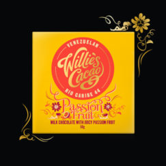 Willie's Cacao Milk chocolate with passion fruit. 100% natural. Simply sublime.