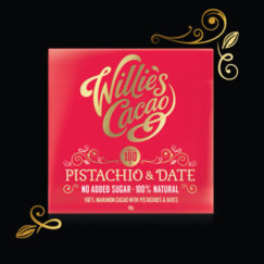 Pistachio & Dates in 100% cacao with no added sugar, suitable for vegans. Craft made bean to bar by Willie's Cacao