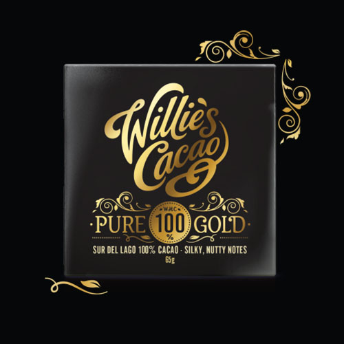 Willie's Cacao Pure Gold 100% Cocoa Chocolate. Vegan, No Added Sugar & 100% natural