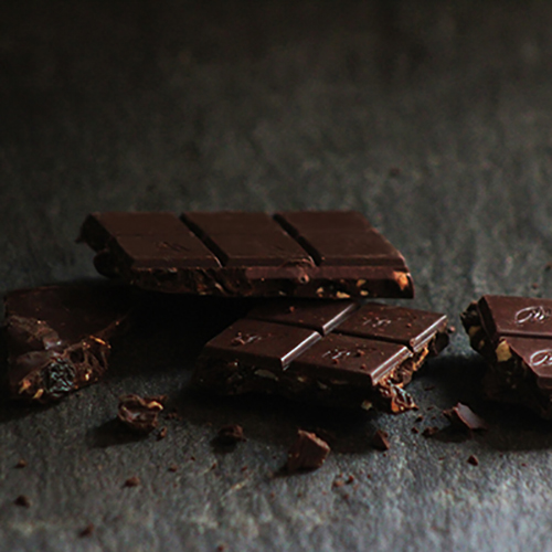 Raisins and Hazelnuts in 100% cacao. A Vegan chocolate from Willie's Cacao.