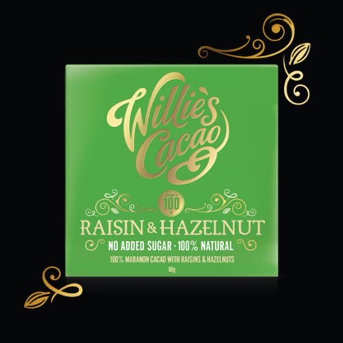 Raisins and Hazelnuts in 100% cacao made bean to bar by Willie Harcourt-Cooze. Vegan and no added sugar.
