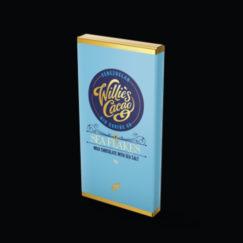 Willie's Cacao Sea Flakes. 44% craft made Milk Chocolate & Sea Salt. Pocket sized treat.