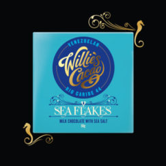 Willie's Cacaco Sea Flakes, 44% Milk Chocolate & Sea Salt. Craft Made bean to bar from 100% natural ingredients