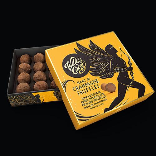 Willie's Cacao luxurious Marc de Champagne Praline Truffles- Vegan