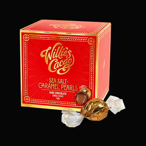 Willie's Cacao gorgeous dark Salted Caramel Pearls - Artisan Made- All Natural -