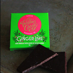 Ginger Lime, 70% dark chocolate bar from Willie's Cacao. Vegan