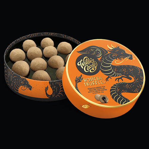 """""""Willie's Cacao artisan made Hojicha Truffles with Liquid centre - All Natural """""""