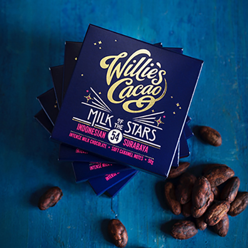 Willie's Cacao Milk of the Stars, 54% milk chocolate artisan made bean to bar by Willie Harcourt-Cooze. 100% natural.