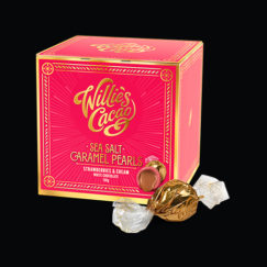 Willie's Cacao gorgeous Strawberries & Creams Pearls with molten sea salt caramel centre - Artisan Made- All Natural -